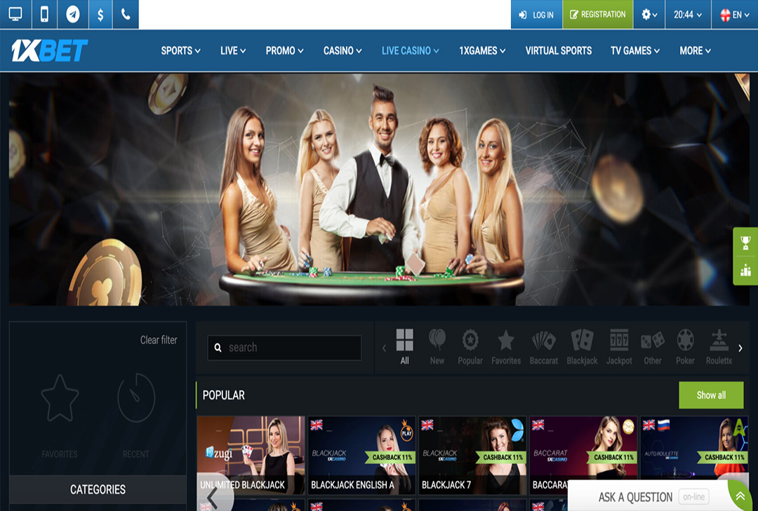 1xBet casino games: general information